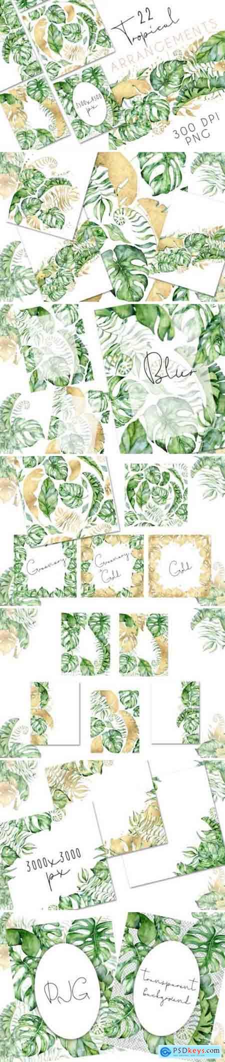 Creativemarket 22 Tropical Arrangements watercolor jungle clipart