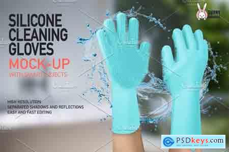 Creativemarket SILICONE CLEANING GLOVES MOCK-UP