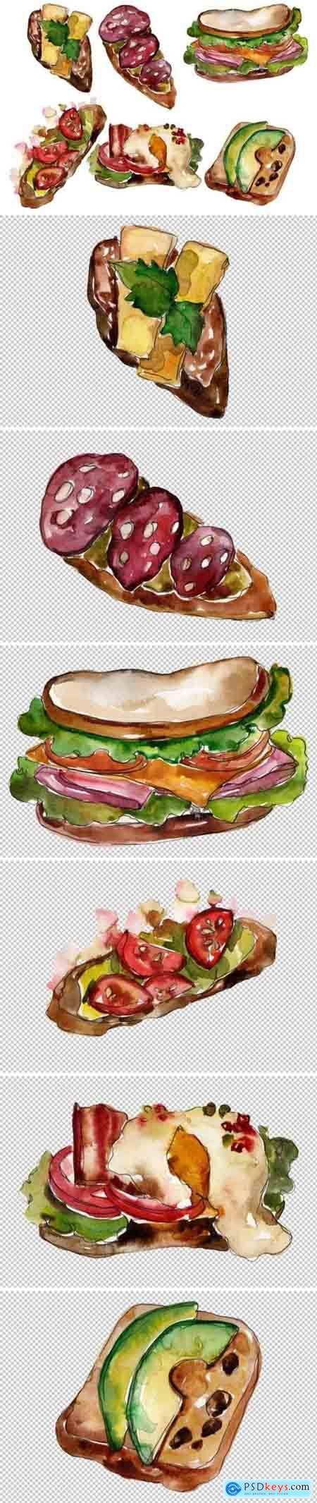 Sandwich sausage Watercolor png