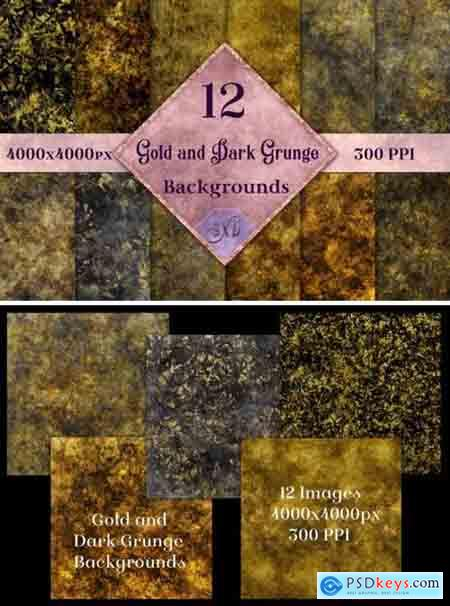Gold and Dark Grunge Backgrounds