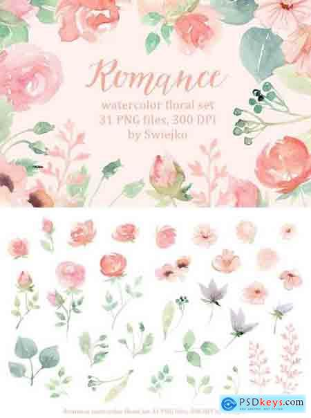 Creativemarket Romantic Floral Clipart set