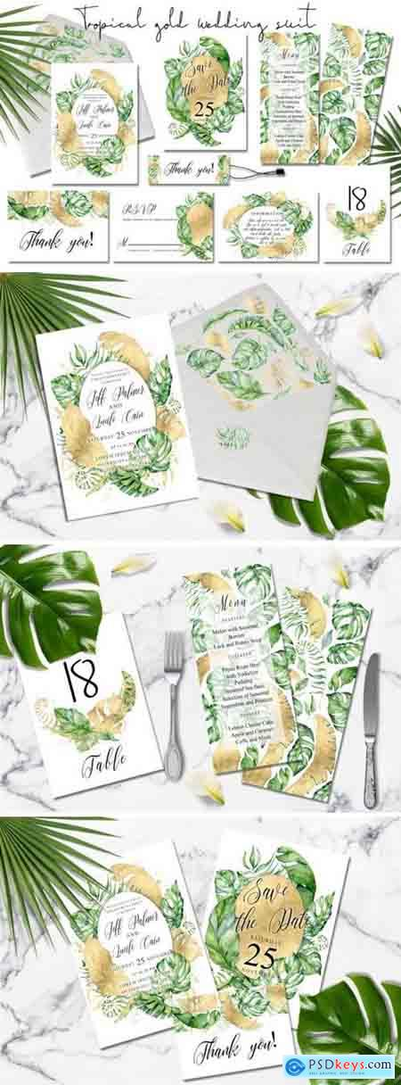 Creativemarket Tropical gold wedding invitation