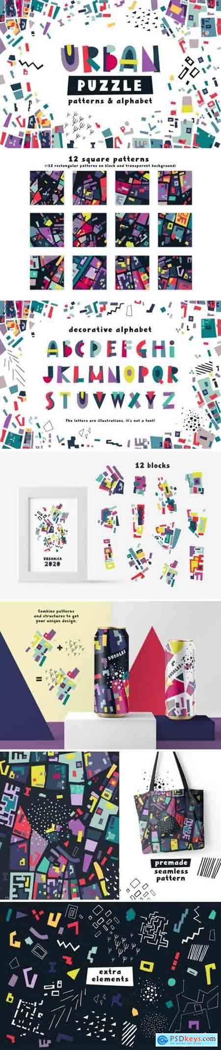 Creativemarket Urban Puzzle - Patterns & Alphabet