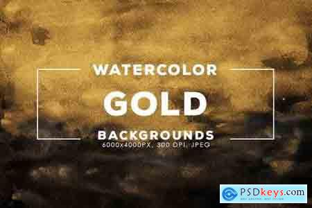 30 Gold Watercolor Backgrounds