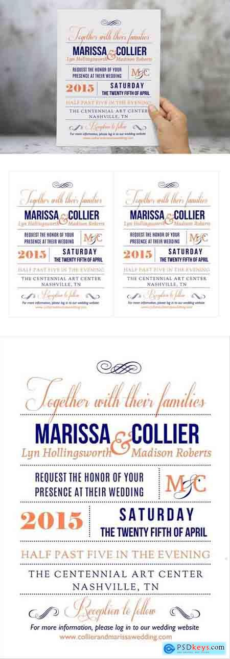 Creativemarket Coral navy Word wedding invitation