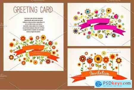 Creativemarket Vector greeting cards set