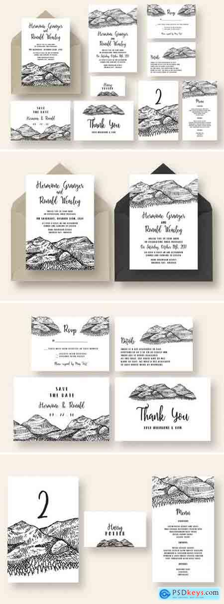 Creativemarket Pen and Ink Mountain Wedding Suite