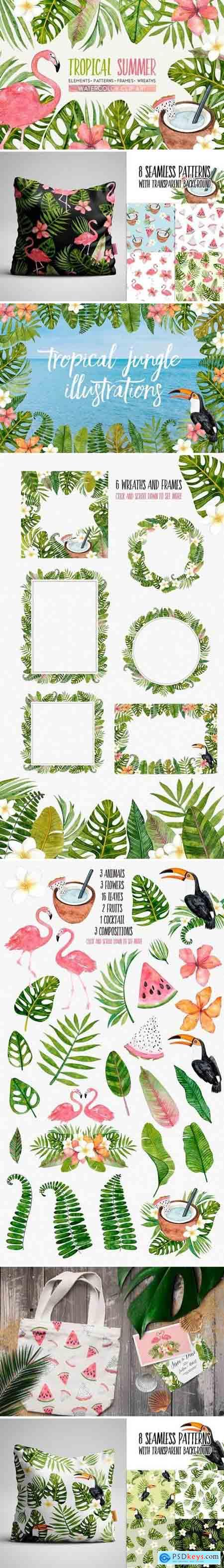 Creativemarket TROPICAL SUMMER watercolor set