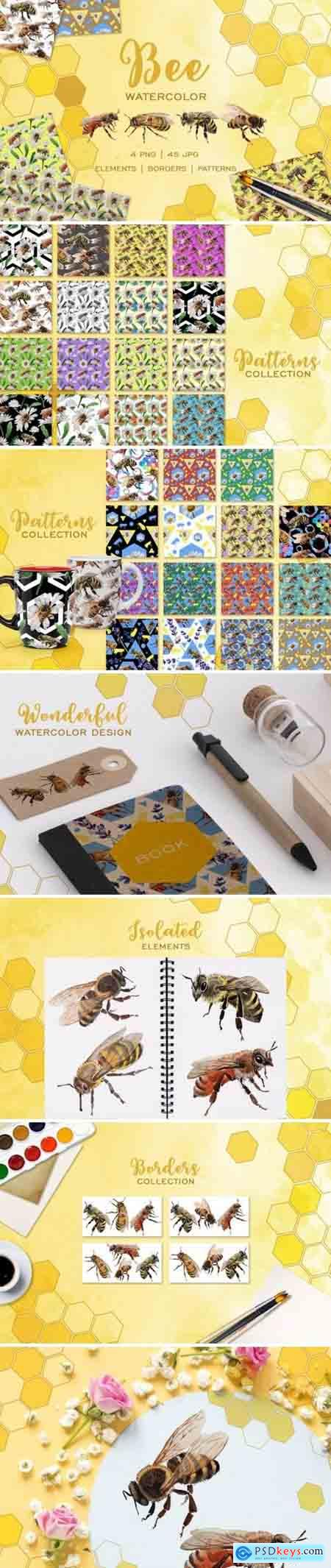 Creativemarket Bee Watercolor png