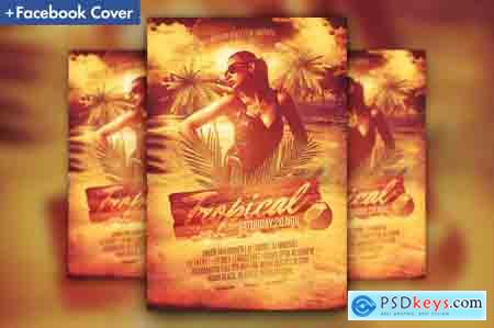 Creativemarket Tropical Beach Party Flyer Template