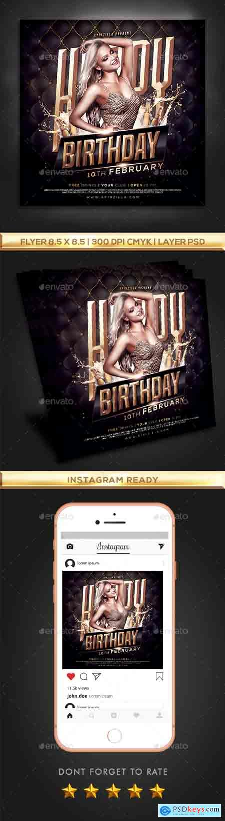 Graphicriver Gold Birthday Party Flyer