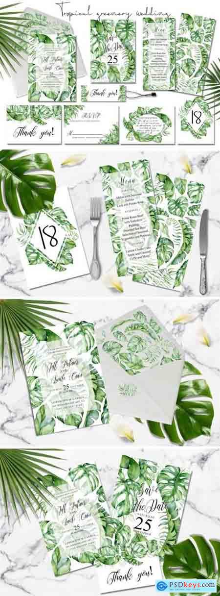 Creativemaket Tropical Greenery Wedding Suit