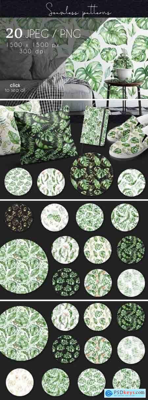 Creativemaket Tropical seamless patterns
