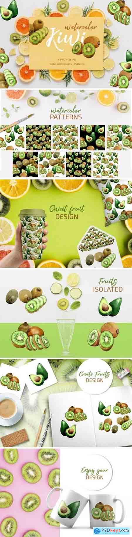 Creativemaket Kiwi Green fresh watercolor png