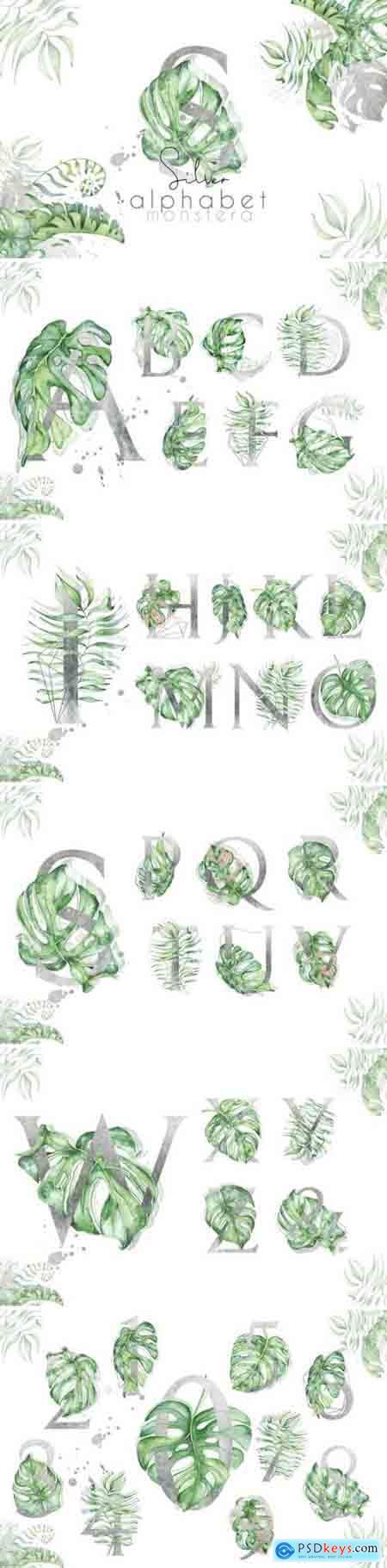 Creativemaket Silver Monstera - tropical alphabet