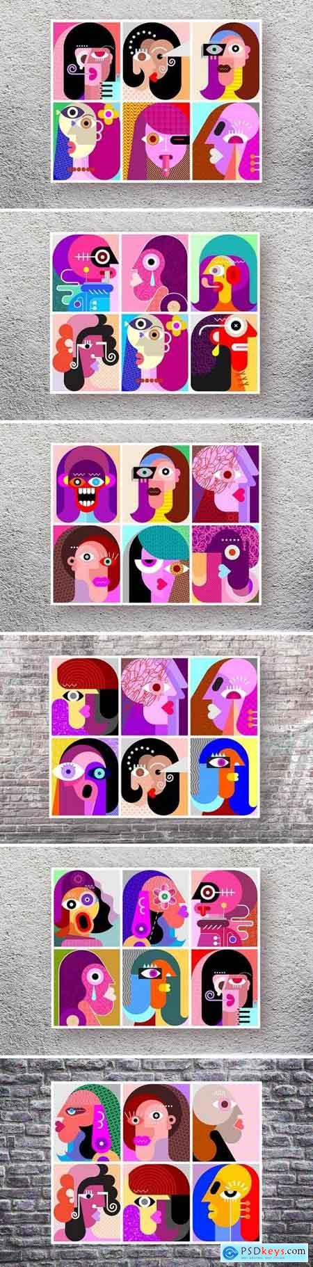 Six Faces layered vector modern art illustration bundle