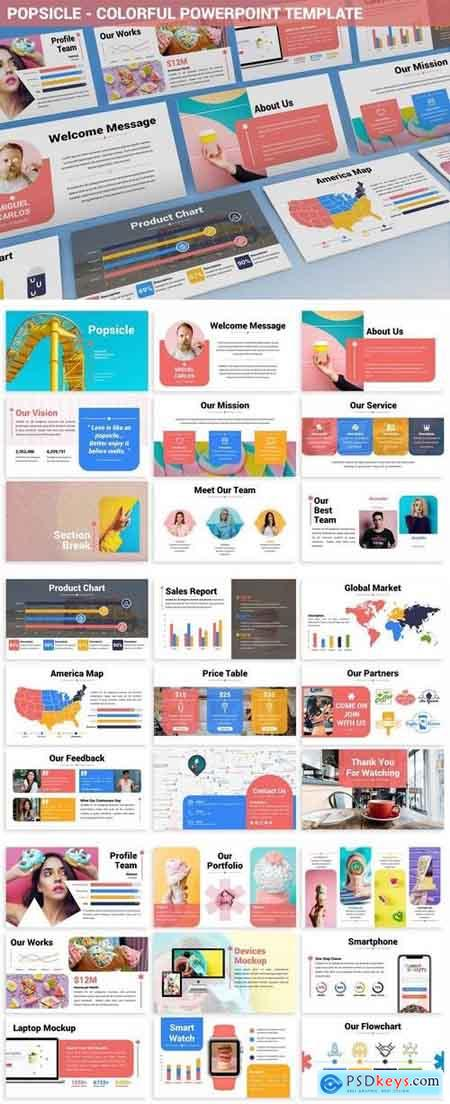 Popsicle - Colorful Powerpoint Template » Free Download Photoshop