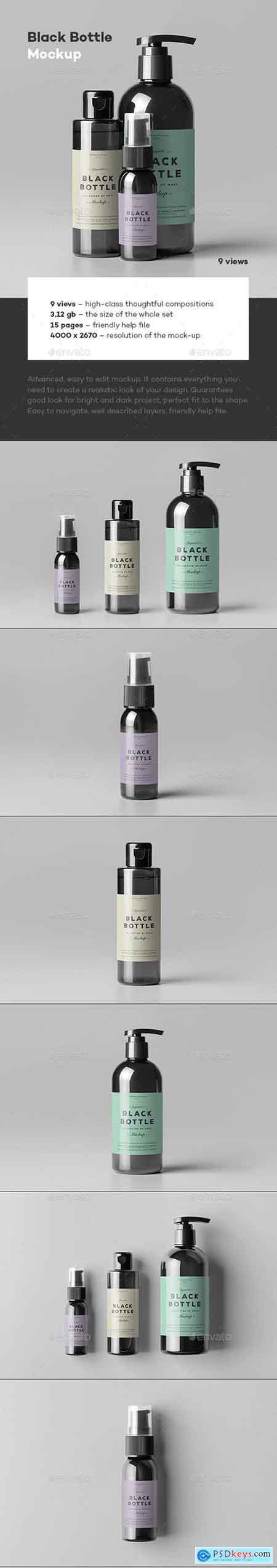 Graphicriver Black Bottles Cosmetic Mockup