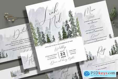 Pine Trees Wedding Invitation Set