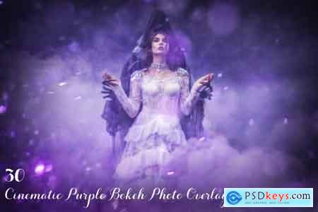 Creativemarket 30 Cinematic Purple Bokeh Overlays