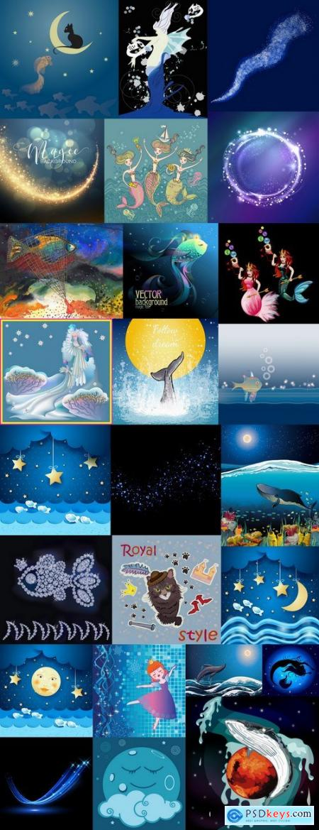 Underwater world illustration for the children book literature fairy tale 2-25 EPS
