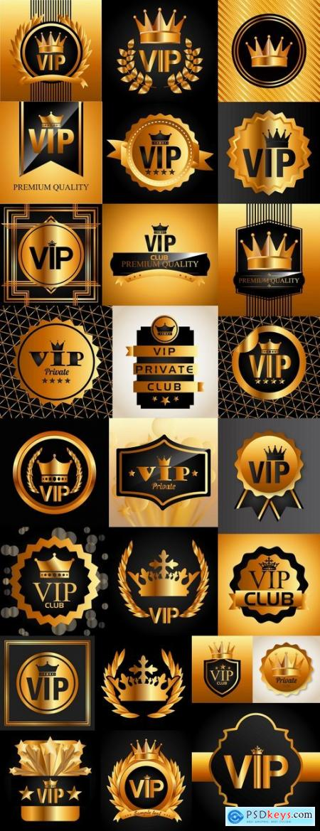 Gold sticker label background is the crown logo icon vector image 25 EPS