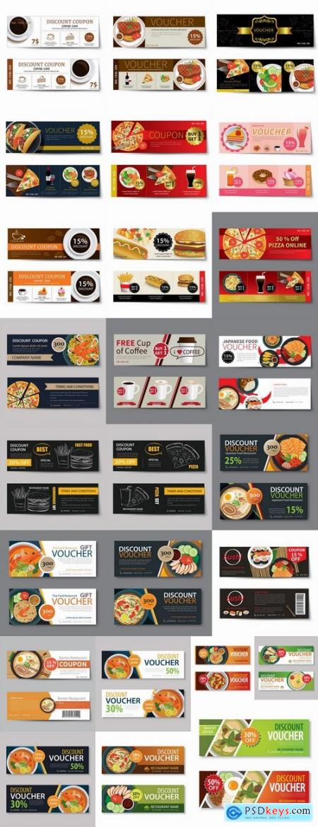 Complimentary gift certificate card banner flyer food menu food 25 EPS