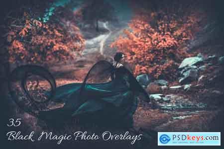 Creativemarket 35 Black Magic Photo Overlays