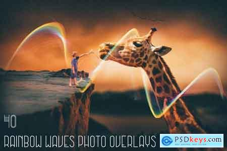 Creativemarket 40 Rainbow Waves Photo Overlays