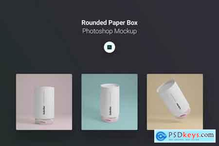 Rounded Paper Box Photoshop Mockup Pack
