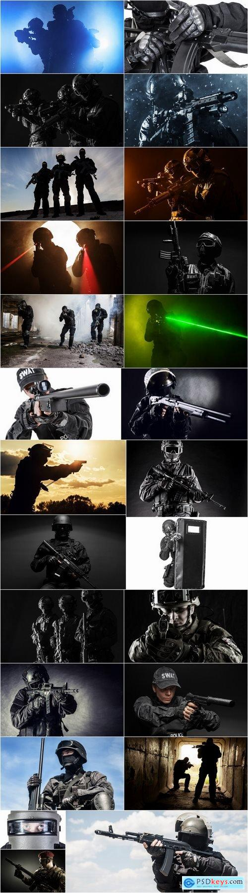Special forces antiterrorist squad soldier soldiers police