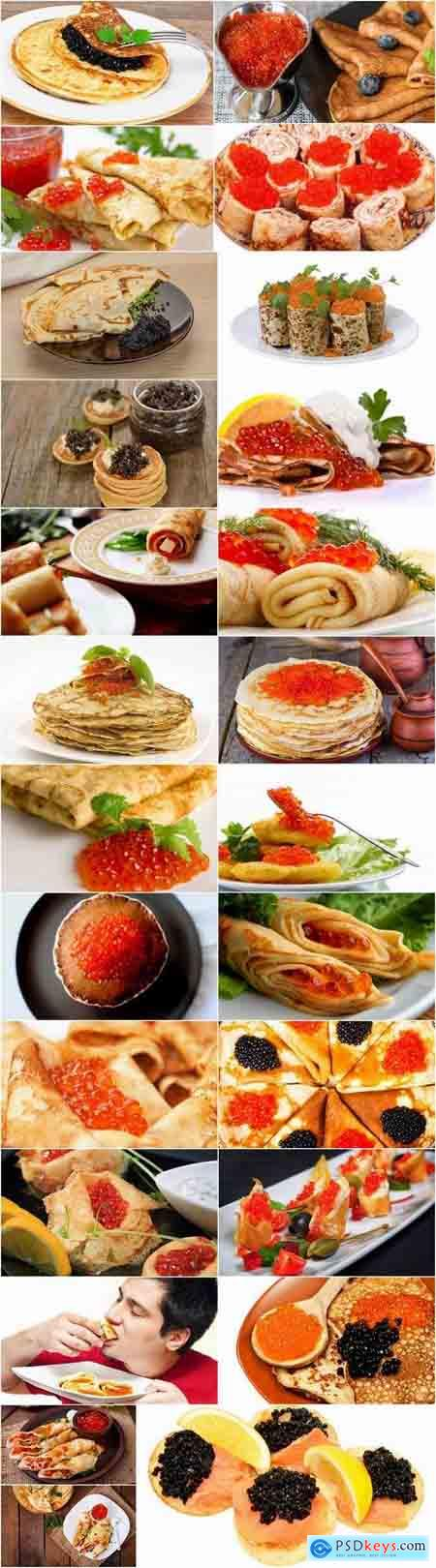 Pancake with red caviar black 25 HQ Jpeg