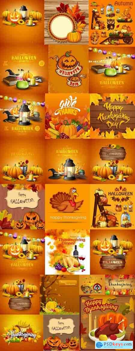 Halloween pumpkin Thanksgiving autumn festival vector image 25 EPS
