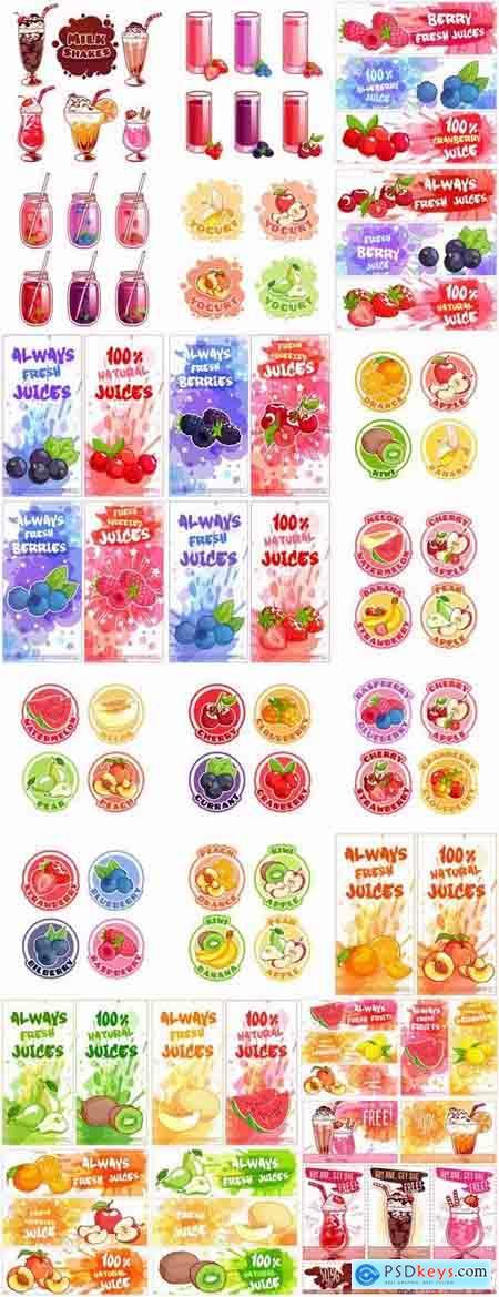 Fruit juice label banner sticker flyer 25 EPS