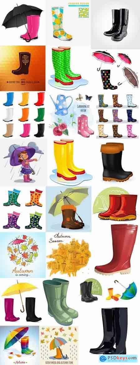Autumn rain rubber boot umbrella 25 EPS