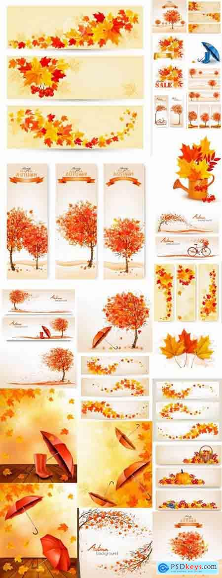 Vector autumn background is a picture poster flyer banner leaf tree 5-25 EPS