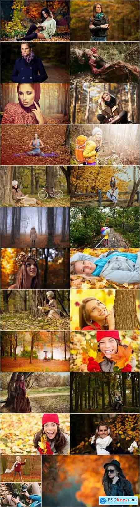 Woman girl in the autumn forest yellow leaf 25 HQ Jpeg