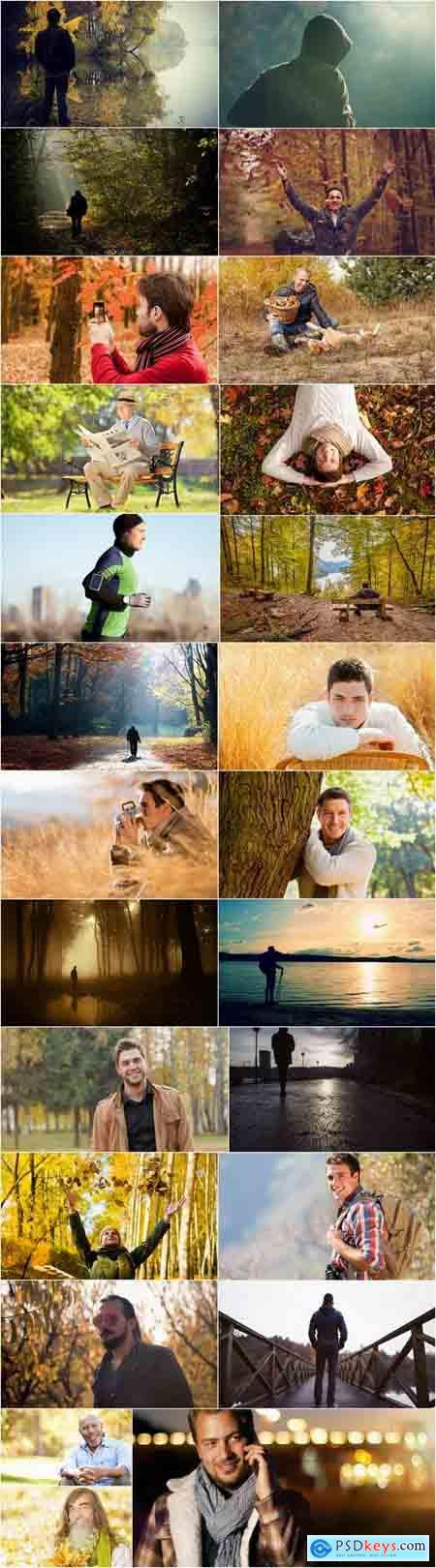 Autumn nature man boy yellow leaf forest 25 HQ Jpeg