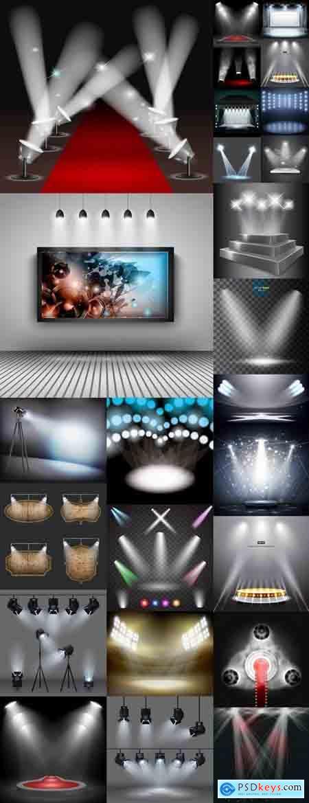 Podium scene with light effect decoration lights searchlight 25 EPS