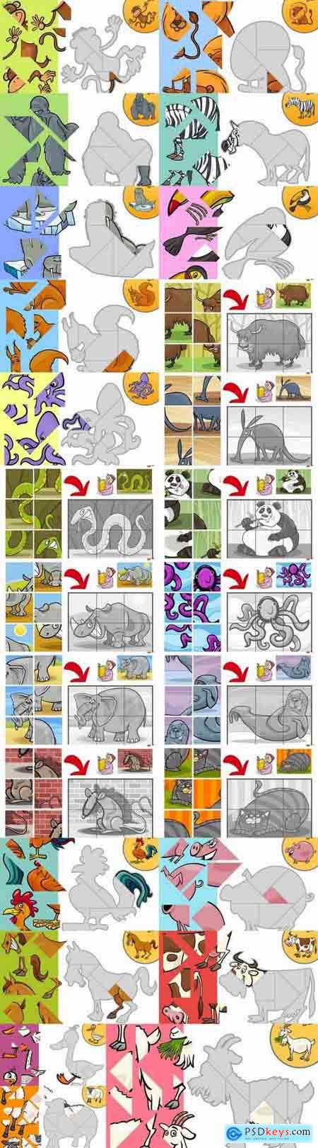 Children's conundrum puzzle illustration animal baby book 25 EPS