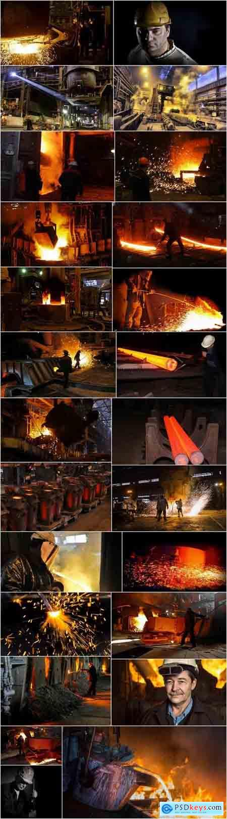 Steelmaker metallurgical blast furnace melting metal factory factory worker 25 HQ Jpeg