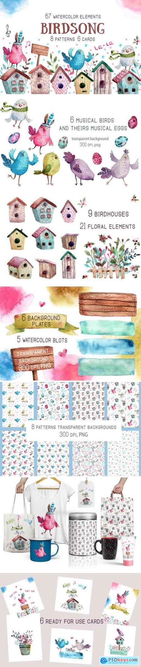 Creativemarket Birdsong - Watercolor Clip Art Set