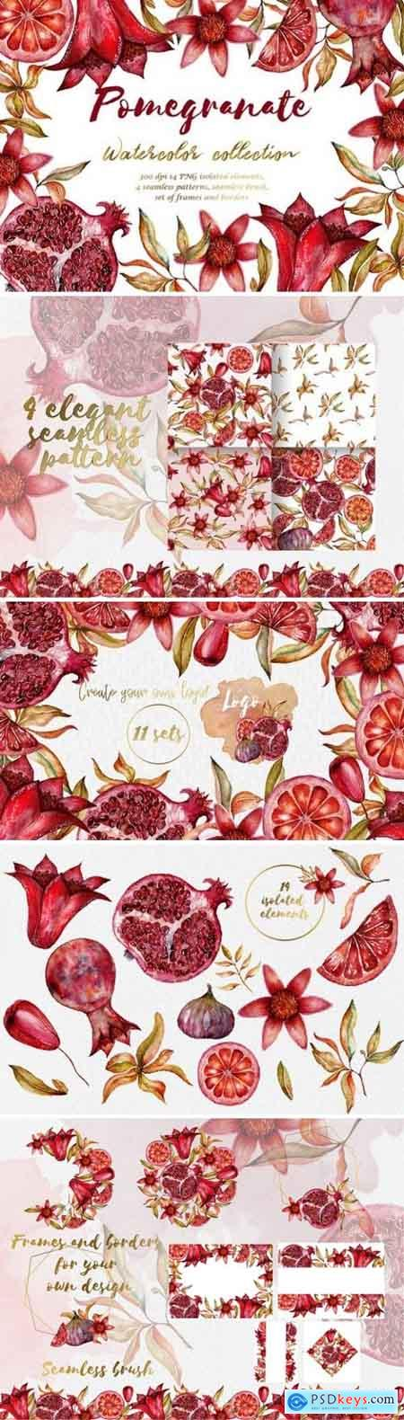 Floral collection of pomegranate
