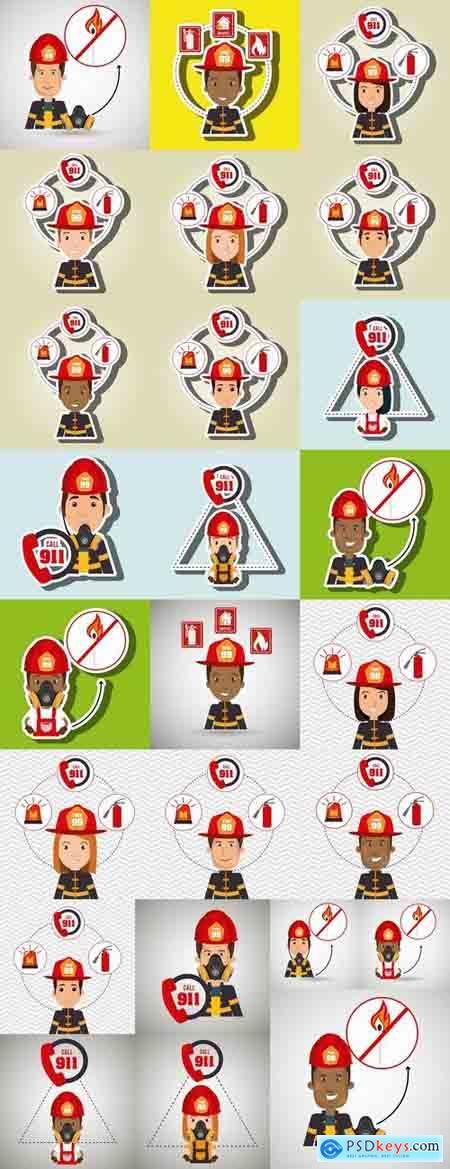 Cartoon fireman lifeguard rescue service vector image 25 EPS