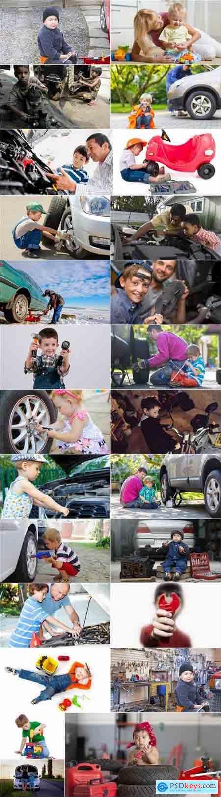 Baby mechanic body shop car repair bicycle tool breakage fault 25 HQ Jpeg