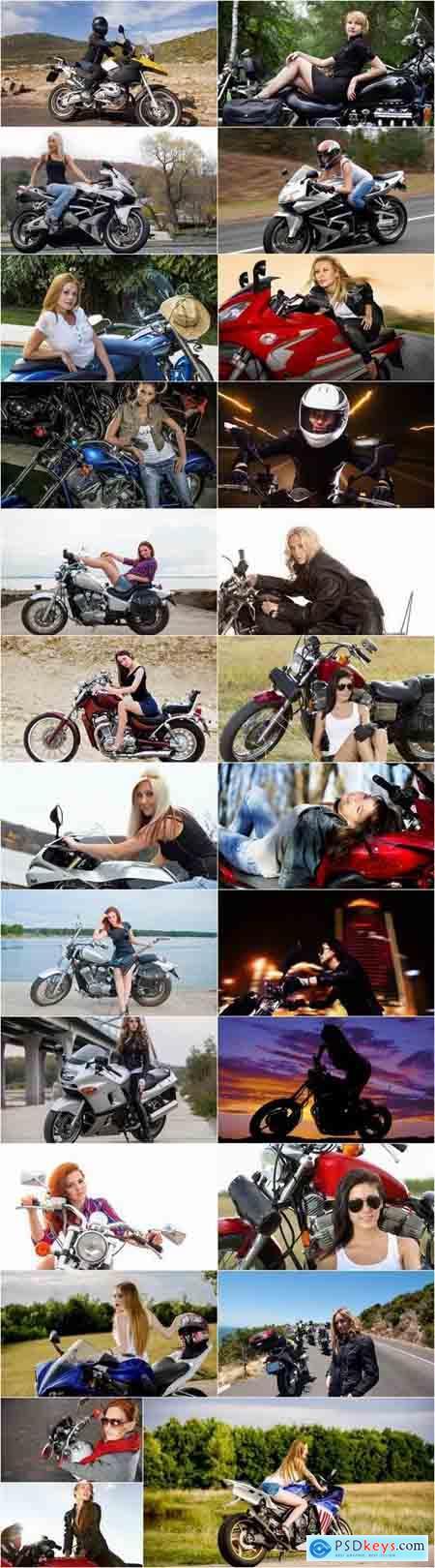 Woman woman on a motorcycle sportbike chopper enduro 25 HQ Jpeg