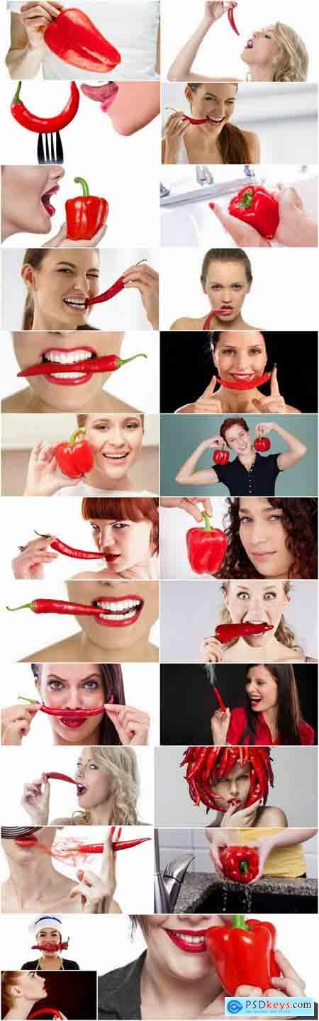 Pepper red hot chili girl woman with sweet pepper 25 HQ Jpeg