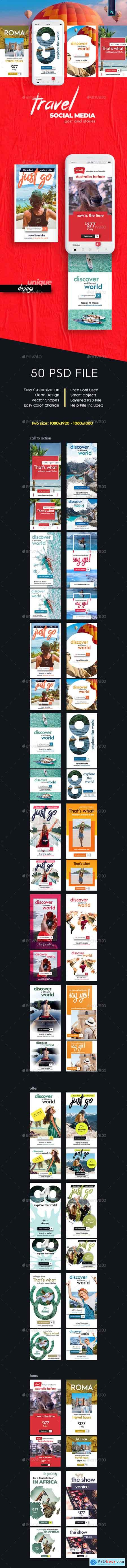 Graphicriver Travel - Tours Social Media Post and Stories