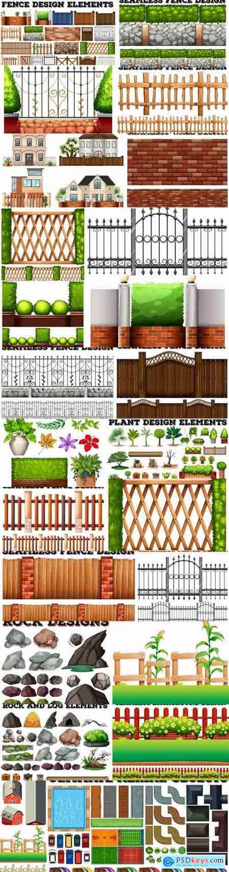 Landscape design element decoration fence stone fence gate house 25 EPS