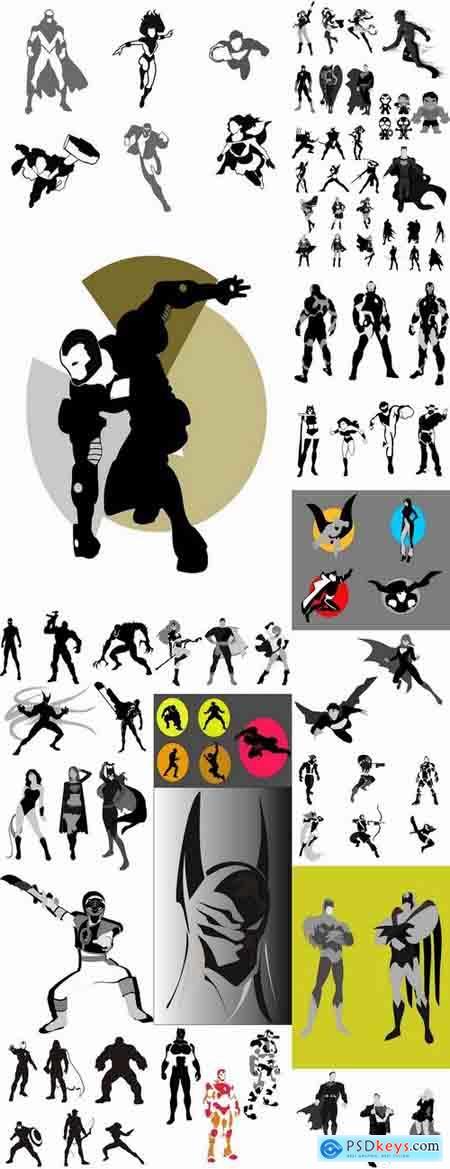 Icon super hero silhouette cartoon comic vector image 25 EPS